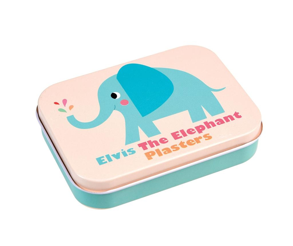 Set 30 plasturi si cutie cu capac Elvis the Elephant