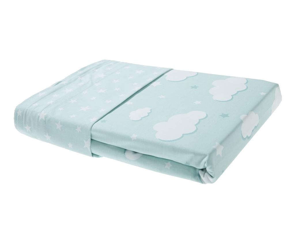 Set 2 draperii si 1 draperie transversala Clouds Light Green