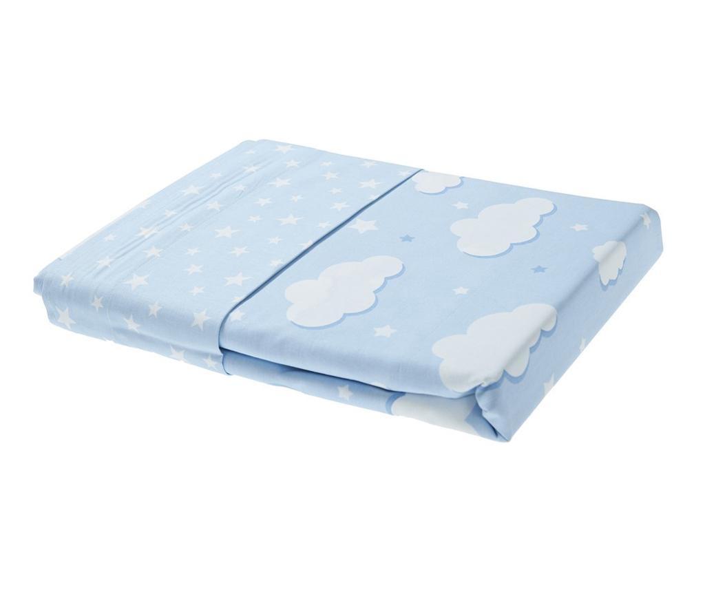 Set 2 draperii si 1 draperie transversala Clouds Blue
