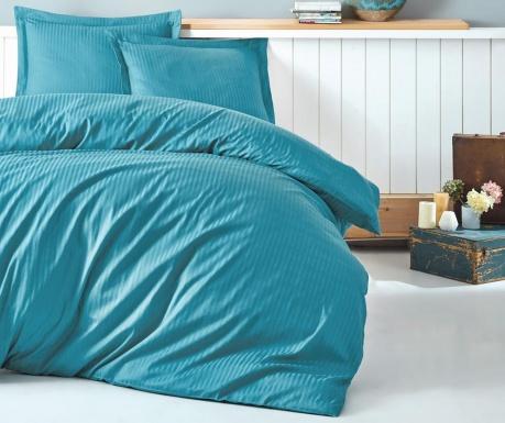 Спално бельо King Satin Stripe Turquoise