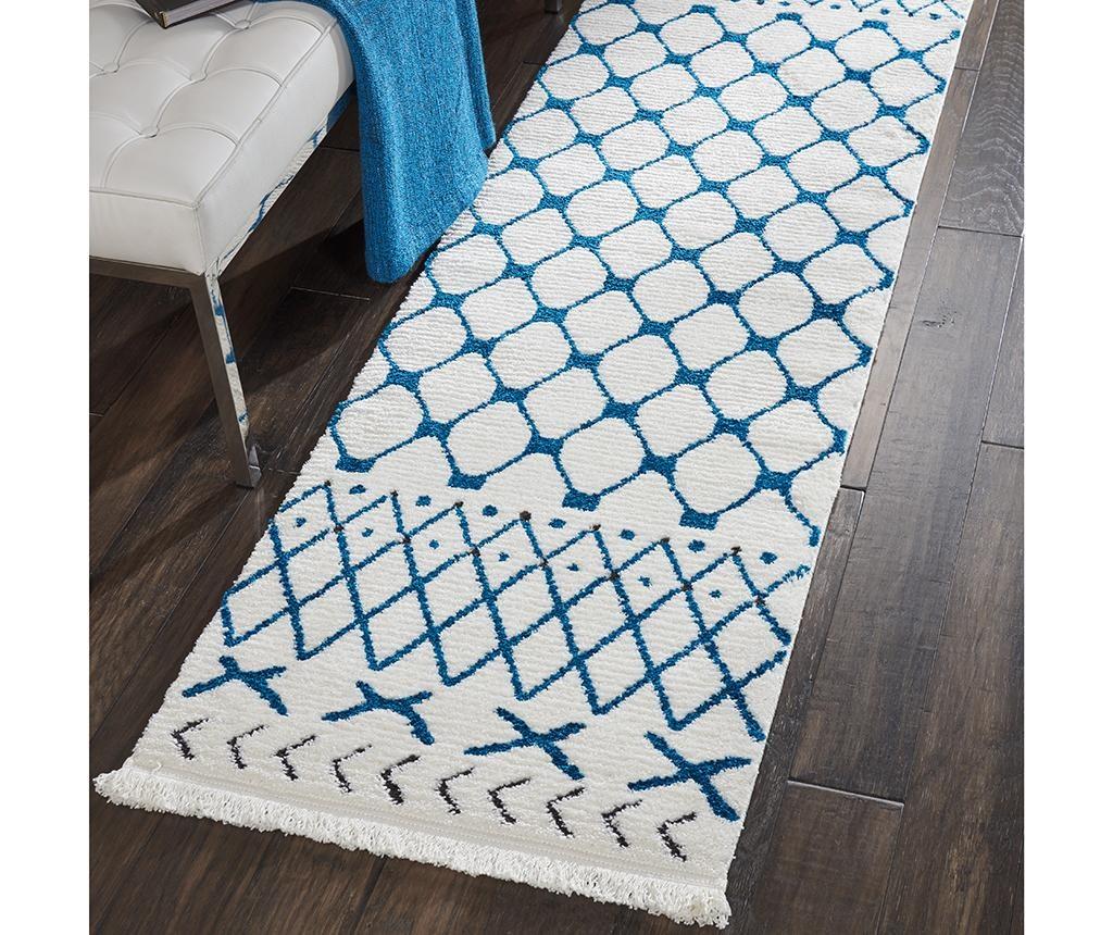 Kamala White Blue Runner Szőnyeg 66x229 cm