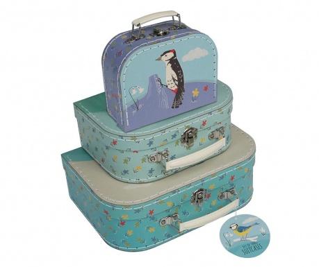Комплект 3 декоративни куфара Garden Birds