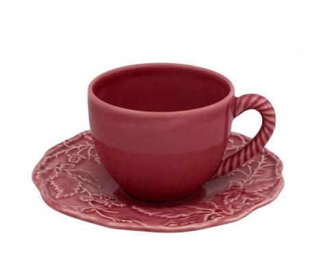 Set - skodelica in krožniček Artichoke Tea Dark Pink