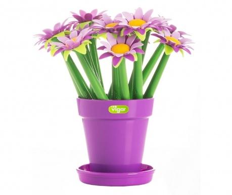 Σετ 15 στυλό και βάση Flower Purple