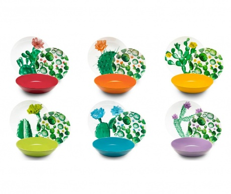 Jedálenská sada 18 ks Color Cactus