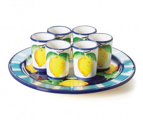 Sada 6 pohárov s táckou Positano Limoncello