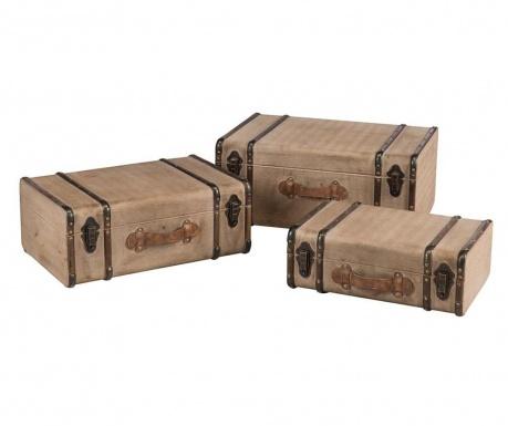 Sada 3 dekoračných kufrov Calliope Beige