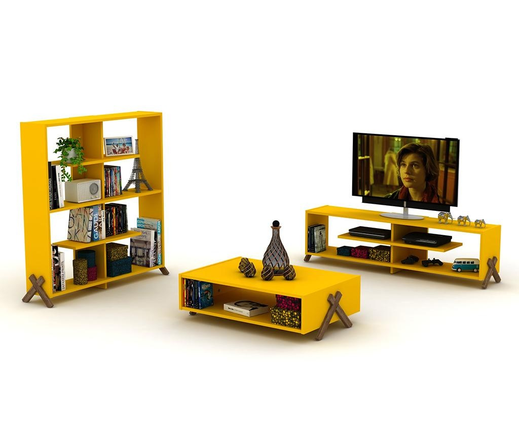 Knižnica Kipp Walnut Yellow