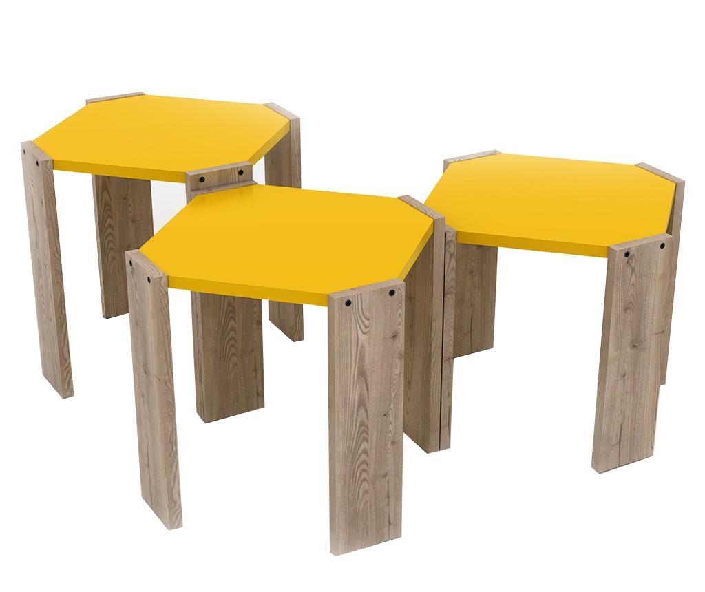 Set 3 mizic Rafevi Hansel Oak Yellow