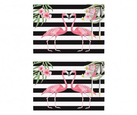 Set 2 individualuri Flamingo Love Story White and Black 33x45 cm