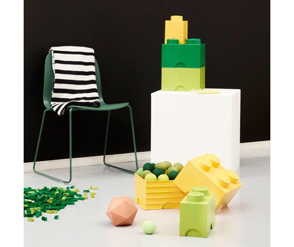 Škatla s pokrovom Lego Square Dark Green