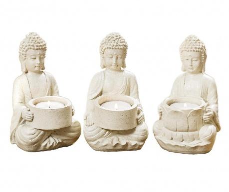 Set 3 suporturi pentru lumanare Buddha Clive