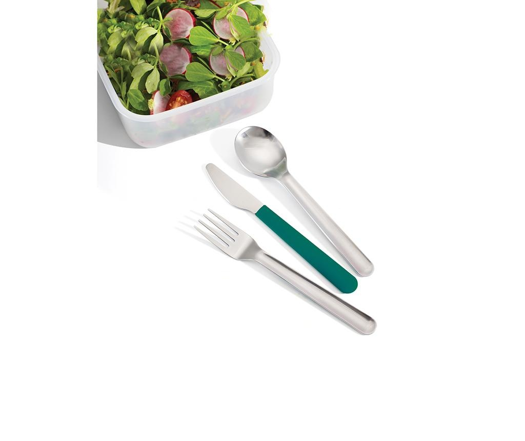 Sada 3 příborů se stojanem Eating Time Dark Green