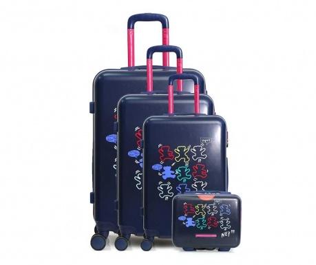 Set 3 kovčkov na kolesih in kozmetične torbe Lulu Arty Blue
