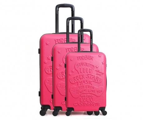 Set 3 kovčkov Lulu Rock Star Pink
