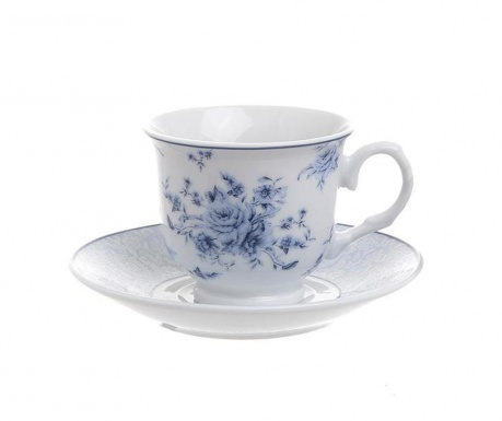 Zestaw 6 filiżanek i 6 talerzyków do kawy Blue Rose