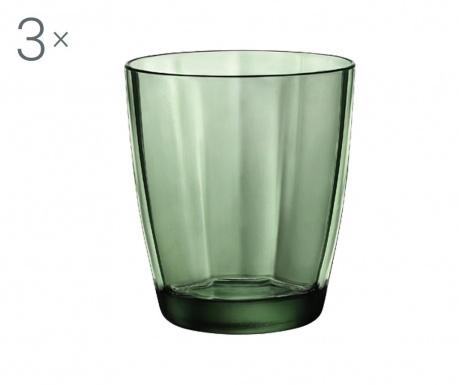 Set 3 čaše za vodu Pulsar Green 300 ml