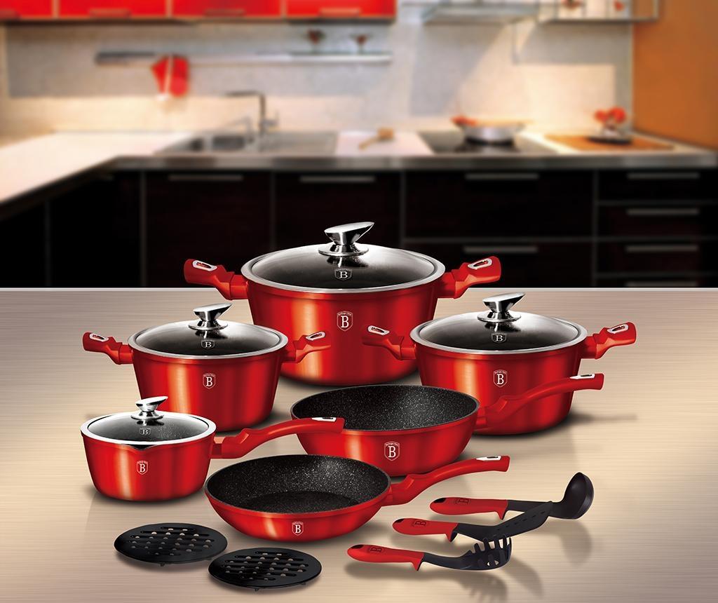 15-dijelni set posuda za kuhanje Metallic Line Burgundy Edition