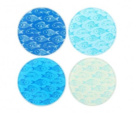 Set 4 coastere Fish Blue