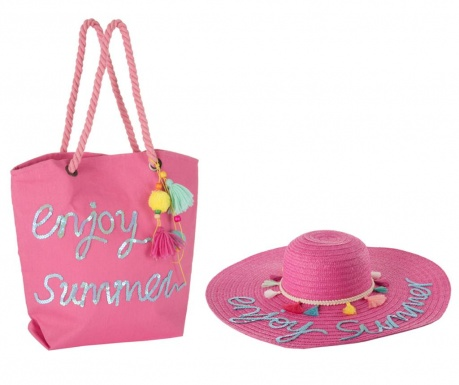 Комплект шапка и плажна чанта Hello Weekend Pink