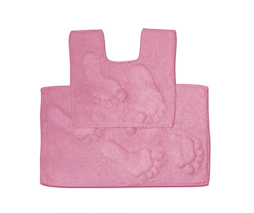 Set ručnik za noge i kupaonski tepih Loren Pink