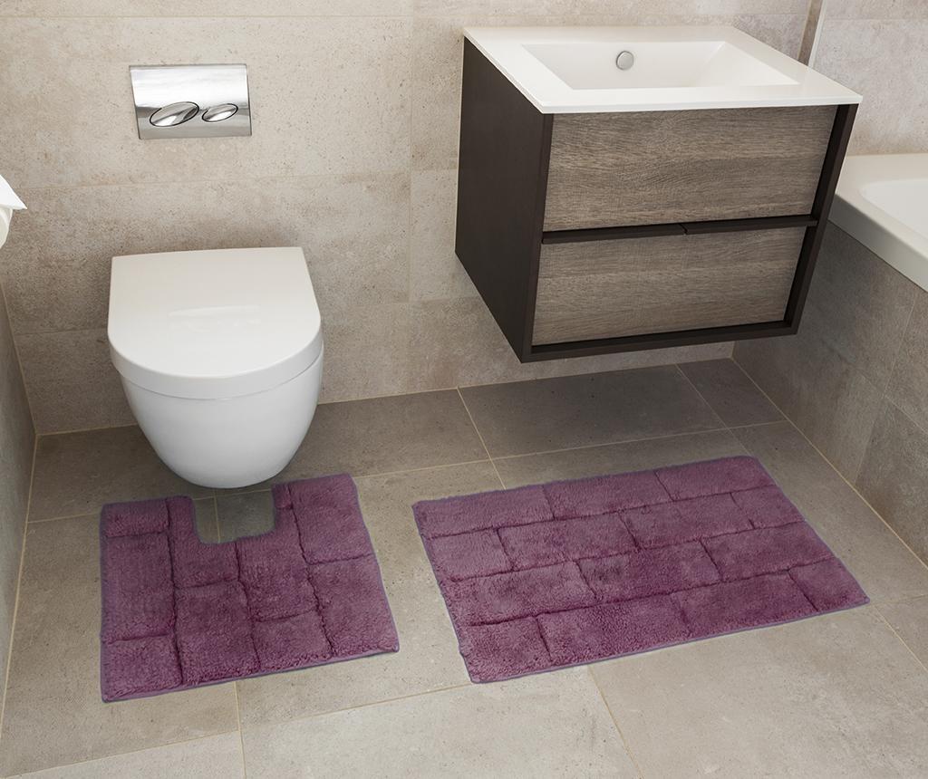 Set ručnik za noge i kupaonski tepih Quiana Aubergine