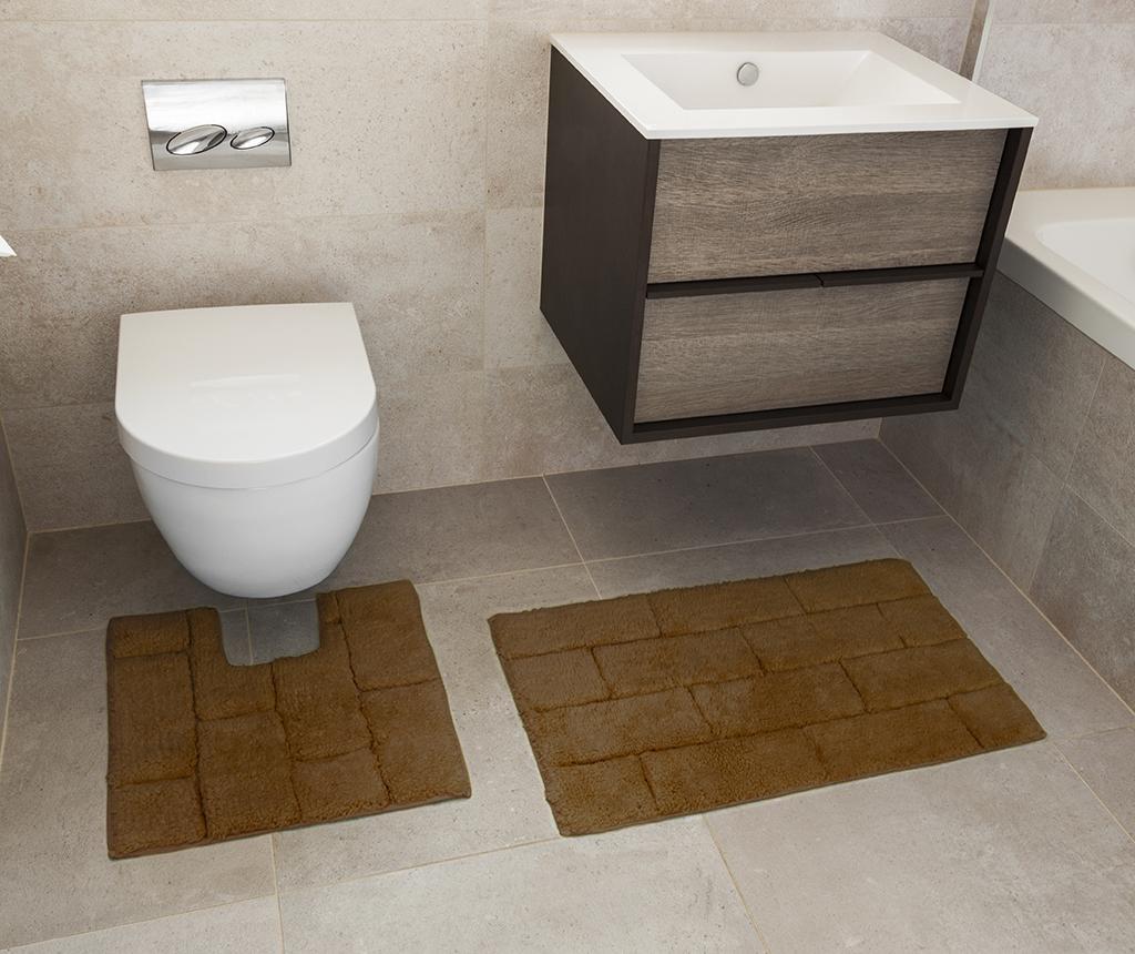 Set ručnik za noge i kupaonski tepih Quiana Chocolate