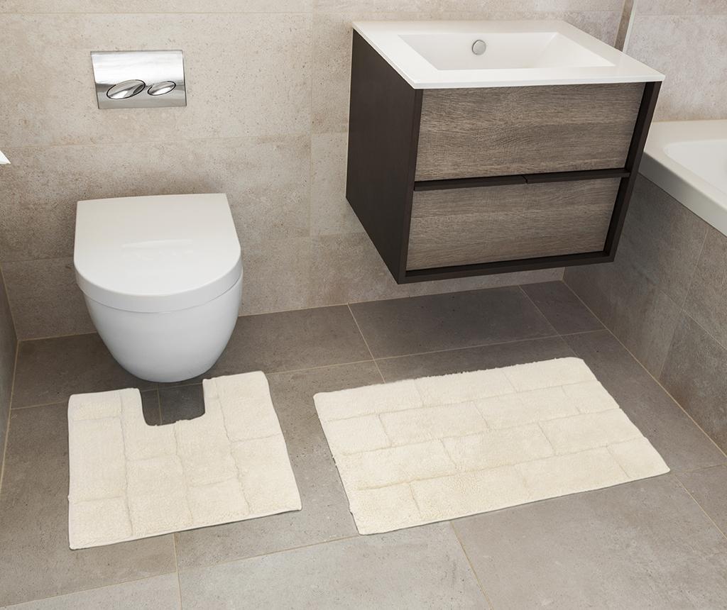Set ručnik za noge i kupaonski tepih Quiana Cream