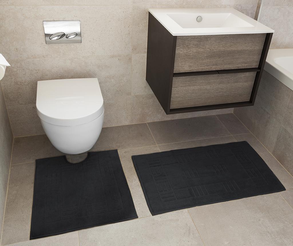 Set - brisača za na tla in kopalniška preproga Reversible Verica Black