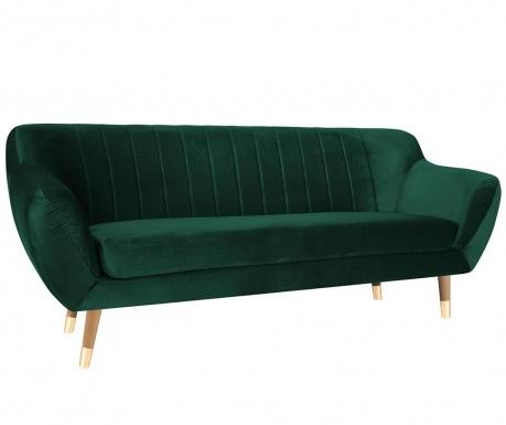 Benito Bottle Green Natural Háromszemélyes kanapé