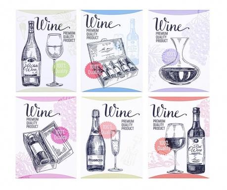 Sada 6 obrazů Wine and Dine