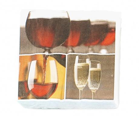 Sada 20 ubrousků Bar Wine 16.5x16.5