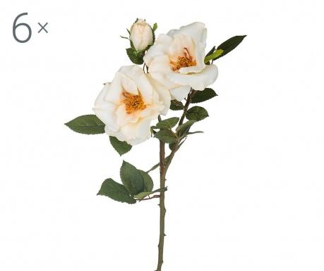 Sada 6 umělých květin Rosa Diadeem Cream