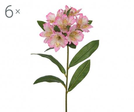 Sada 6 umělých květin Alstroemeria Pink