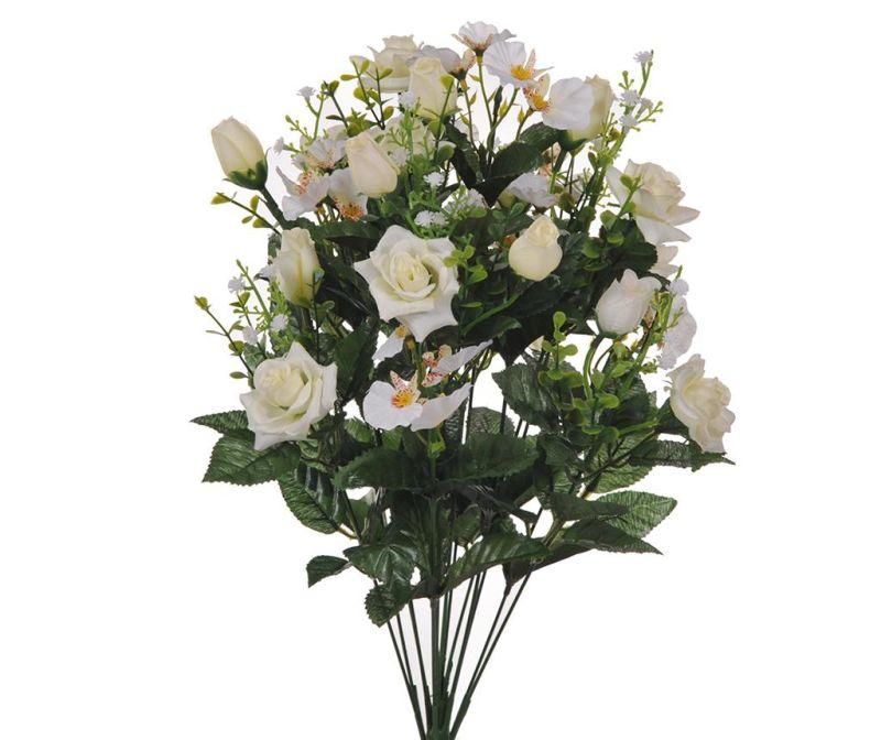 Buchet flori artificiale Rose and Orchids White