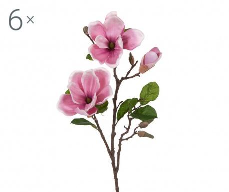 Sada 6 umělých květin Magnolia Mauve