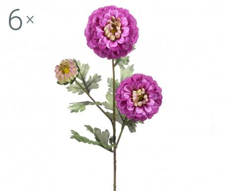 Sada 6 umělých květin Dahlia Violet