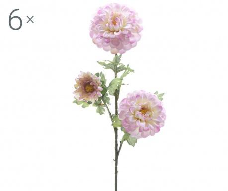 Sada 6 umělých květin Dahlia Lilac