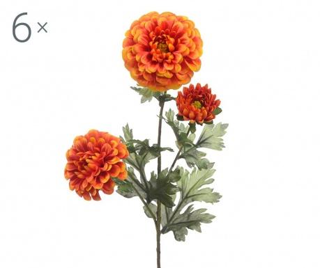 Sada 6 umělých květin Dahlia Orange
