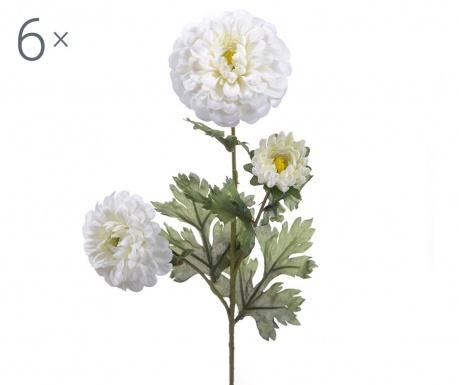 Sada 6 umělých květin Dahlia Cream