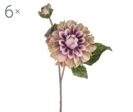 Sada 6 umělých květin Dahlia Romantique Mauve