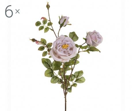 Sada 6 umělých květin Rosa Romantica Smoke