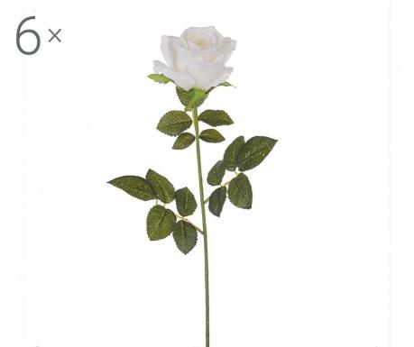Sada 6 umělých květin White Rose