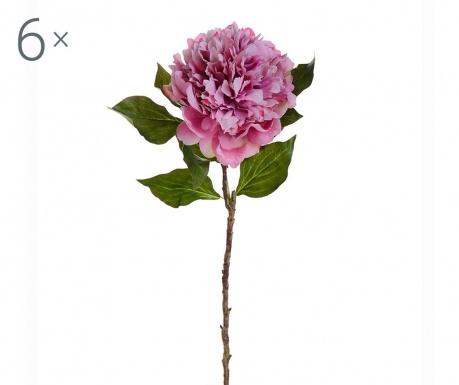 Sada 6 umělých květin Peony Pink