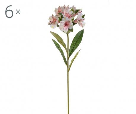 Sada 6 umělých květin Alstroemeria Cream