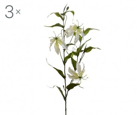 Sada 3 umělých květin Gloriosa Lilium Cream
