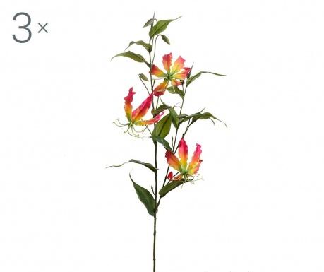 Sada 3 umělých květin Gloriosa Lilium Fuchsia