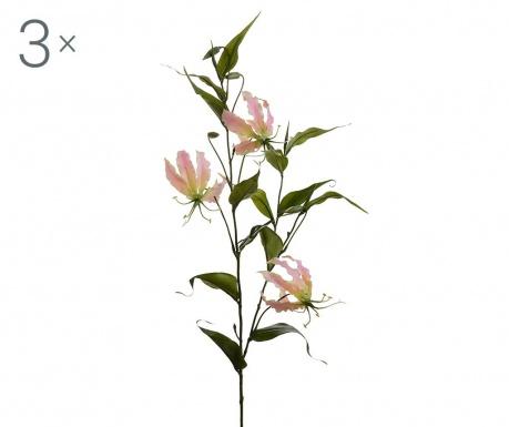 Sada 3 umělých květin Gloriosa Lilium Pink