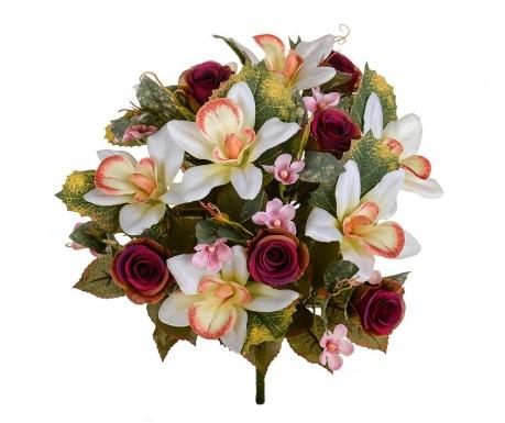 Kytice z umělých květin Orchids and Roses Burgundy