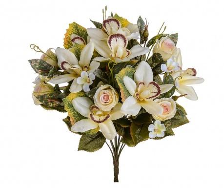 Kytice z umělých květin Orchids and Roses Cream